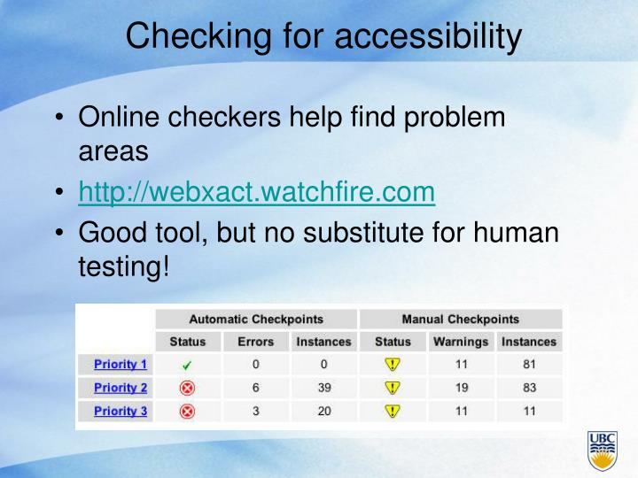 Checking for accessibility