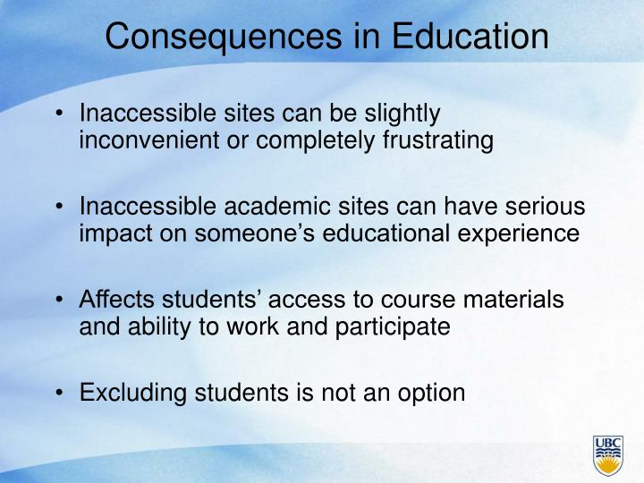 Consequences in Education