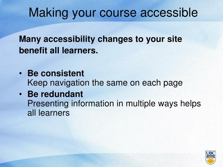 Making your course accessible