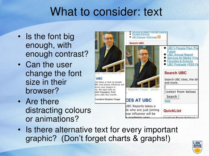 What to consider: text