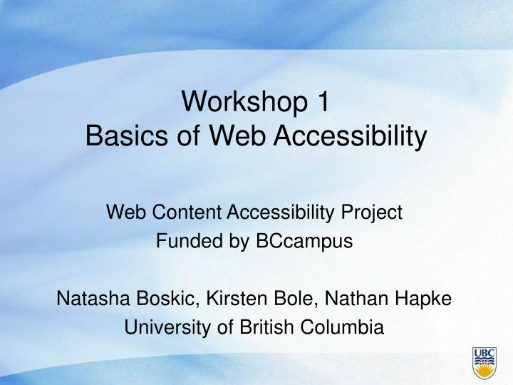 workshop 1 basics of web accessibility