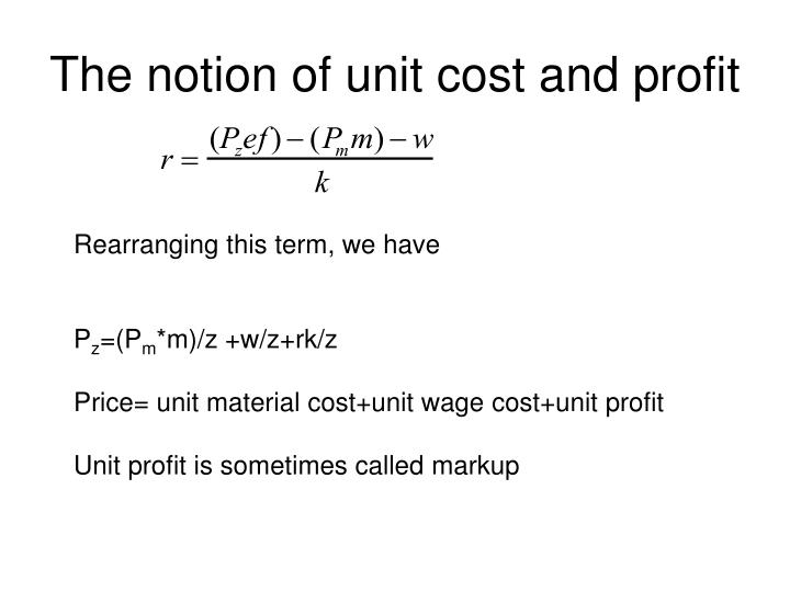 The notion of unit cost and profit
