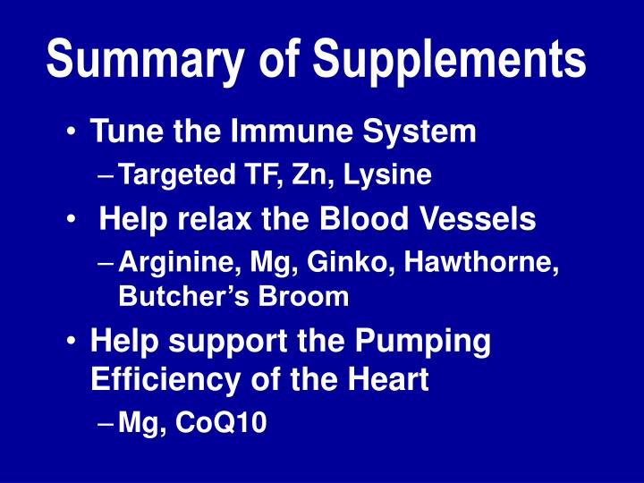 Summary of Supplements