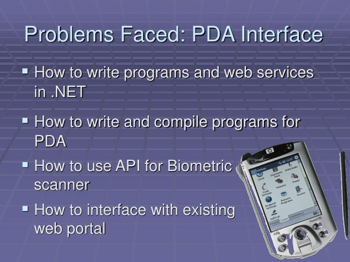 Problems Faced: PDA Interface