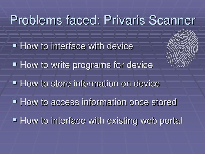 Problems faced privaris scanner