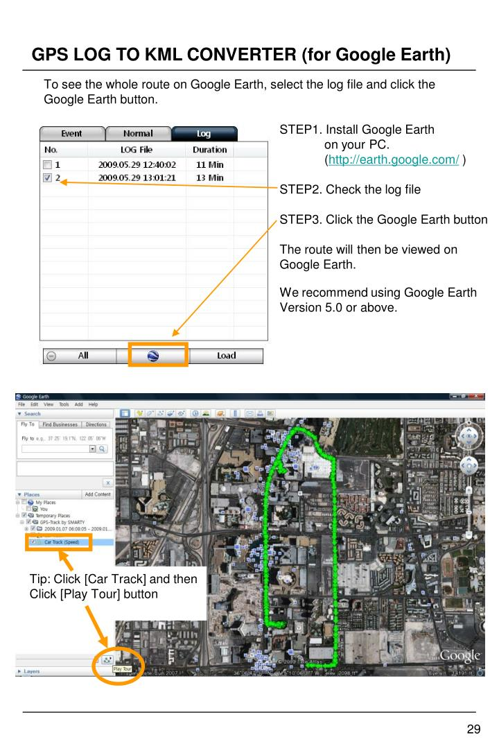 GPS LOG TO KML CONVERTER (for Google Earth)