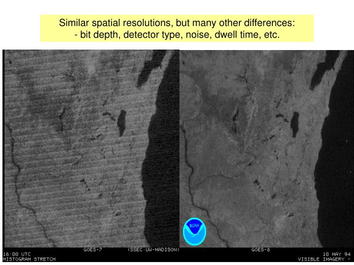 Similar spatial resolutions, but many other differences: