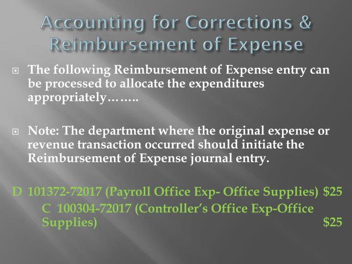 Accounting for Corrections & Reimbursement of Expense