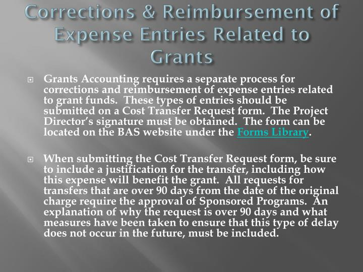 Corrections & Reimbursement of Expense Entries Related to Grants