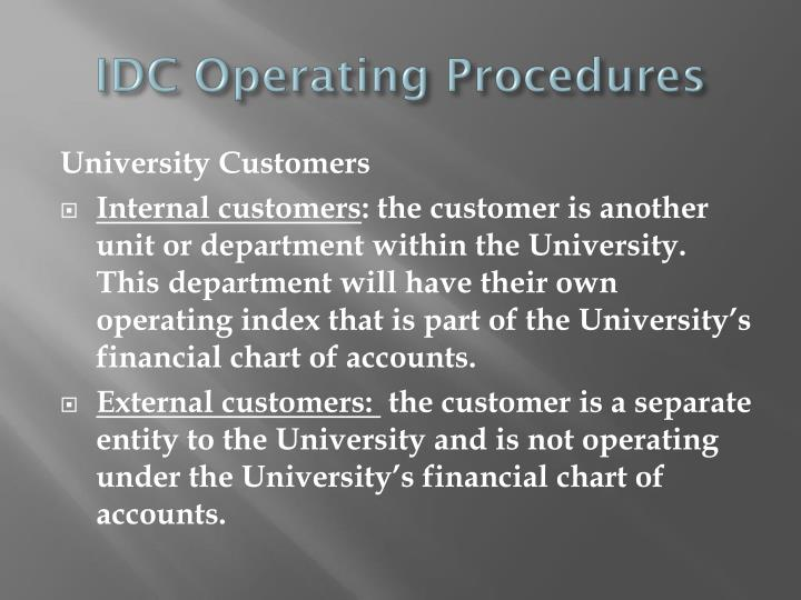 IDC Operating Procedures
