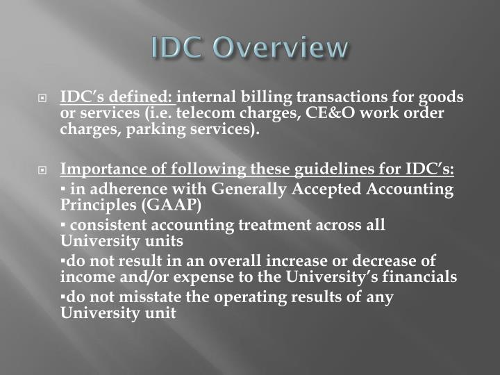 IDC Overview