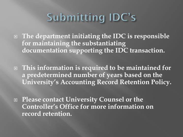 Submitting IDC's