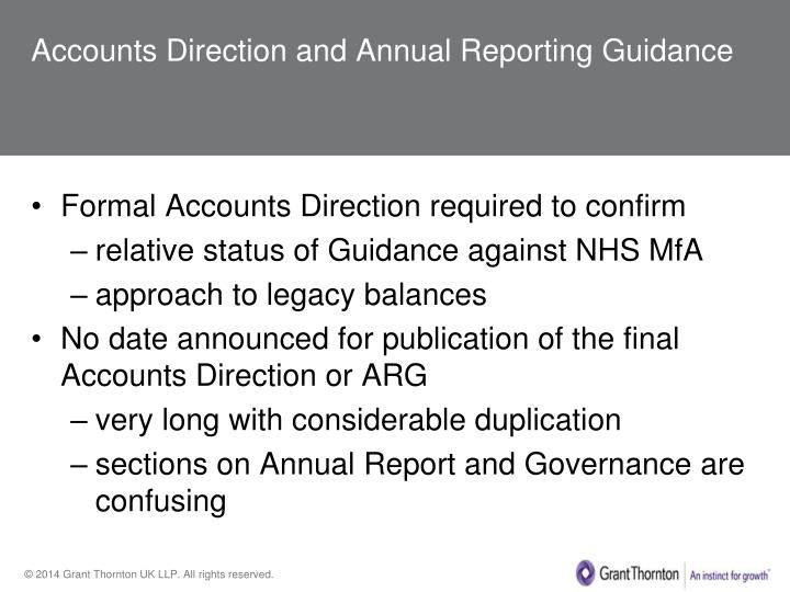 Accounts Direction and Annual Reporting Guidance