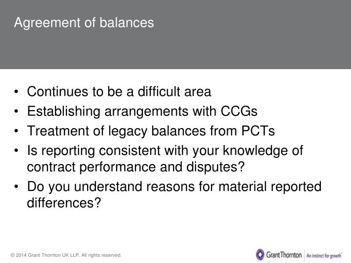Agreement of balances