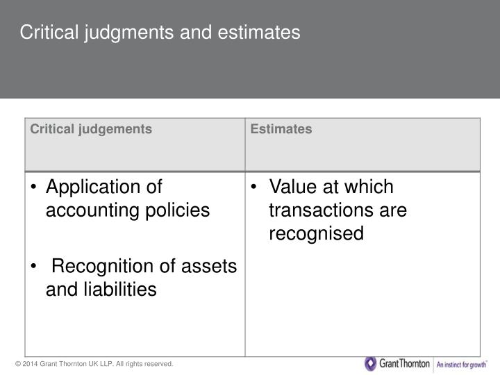 Critical judgments and estimates
