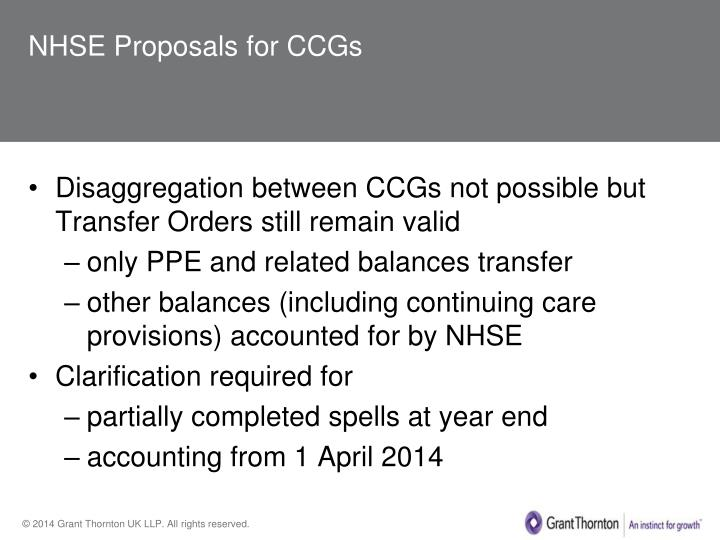 NHSE Proposals for CCGs