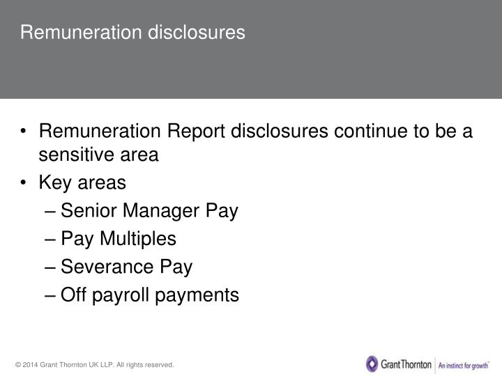 Remuneration disclosures
