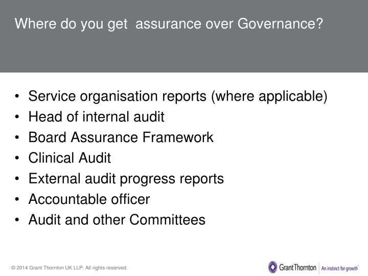 Where do you get  assurance over Governance?