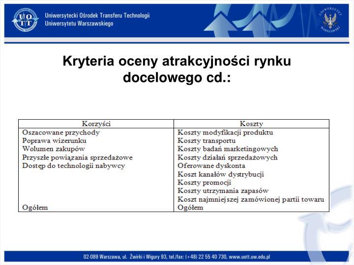 Kryteria oceny atrakcyjności rynku docelowego cd.: