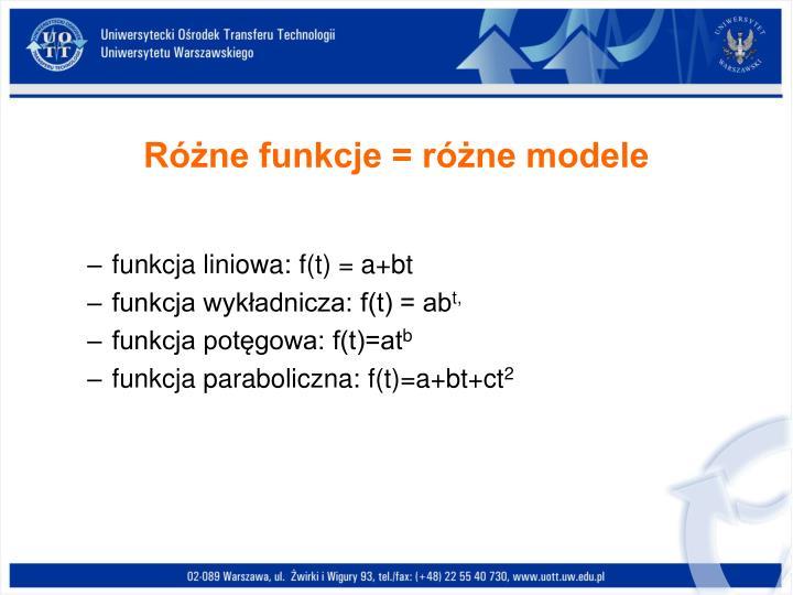 Różne funkcje = różne modele