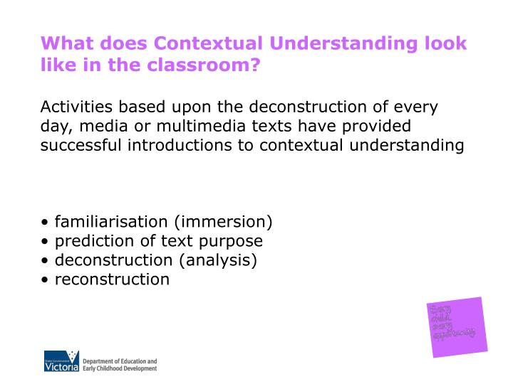 What does Contextual Understanding look like in the classroom?