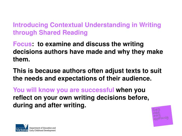 Introducing Contextual Understanding in Writing through Shared Reading