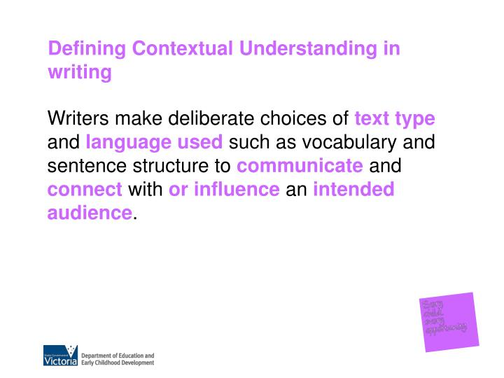 Defining Contextual Understanding in writing