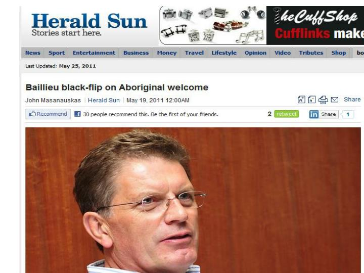 Ted Baillieu black-flip on Aborigianl welcome