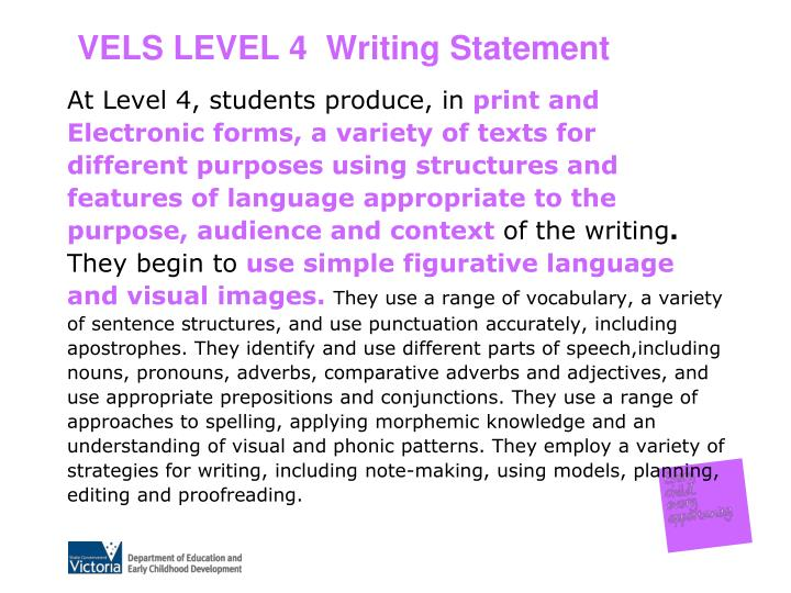 VELS LEVEL 4  Writing Statement