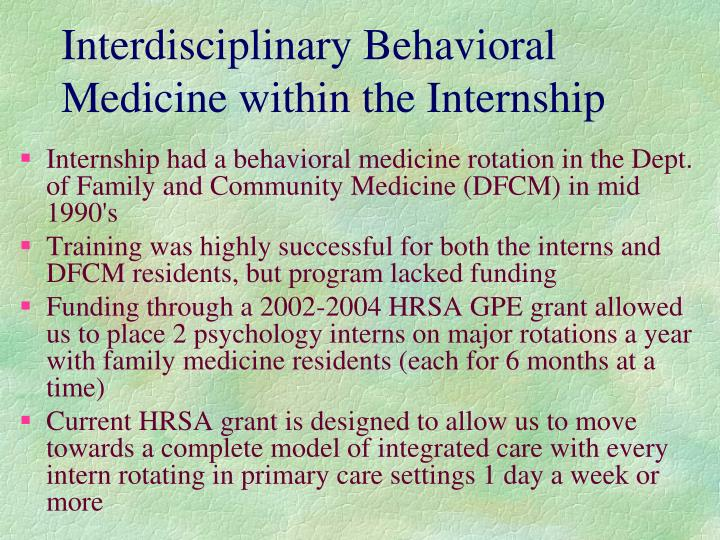 Interdisciplinary Behavioral Medicine within the Internship
