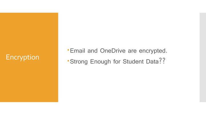 Email and OneDrive are encrypted.