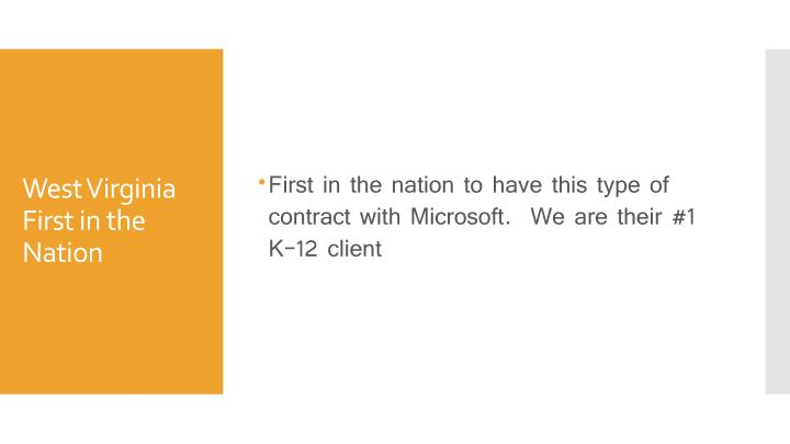 First in the nation to have this type of contract with Microsoft.  We are their #1 K-12 client