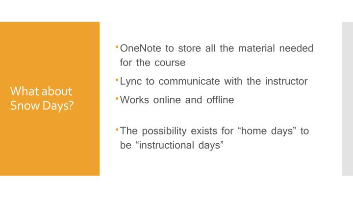 OneNote to store all the material needed for the course