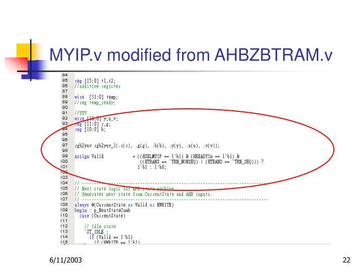 MYIP.v modified from AHBZBTRAM.v