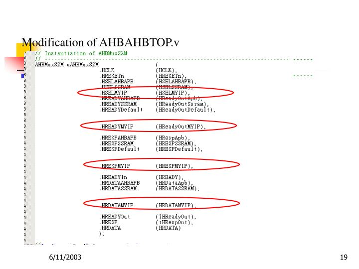 Modification of AHBAHBTOP.v