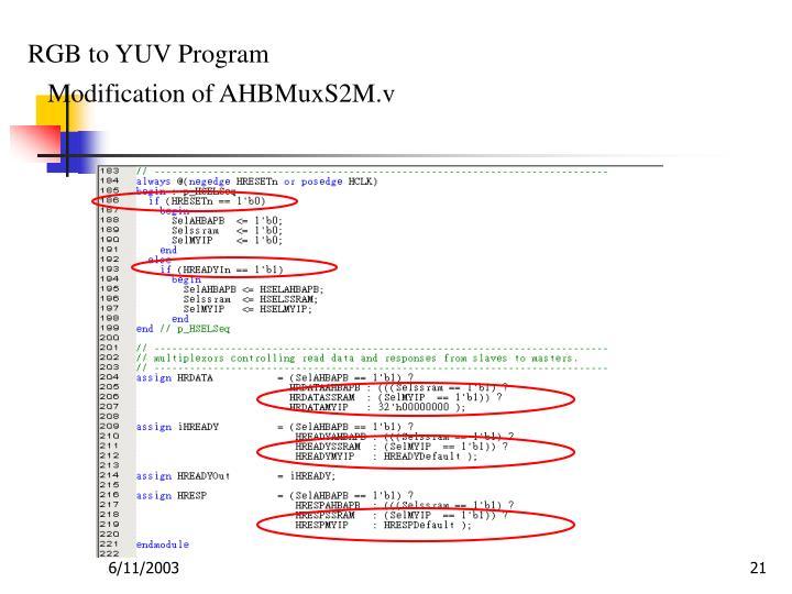 RGB to YUV Program