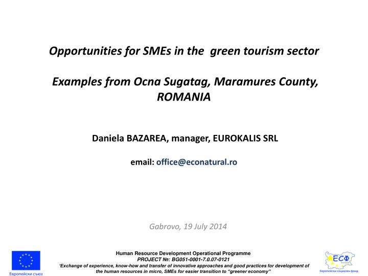 Opportunities for SMEs in the  green tourism
