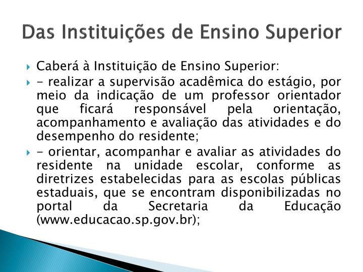 Das Instituições de Ensino Superior