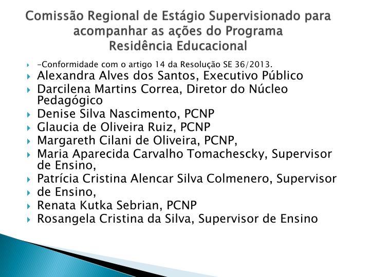 Comissão Regional de Estágio Supervisionado para acompanhar as ações do Programa