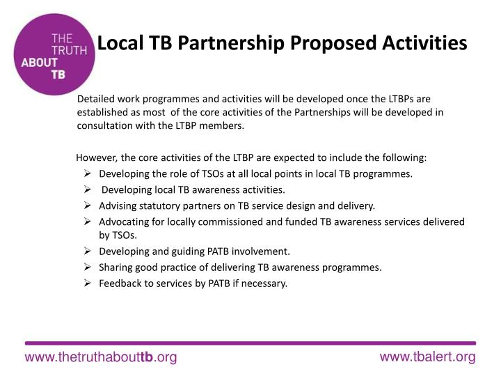 Local TB Partnership Proposed Activities