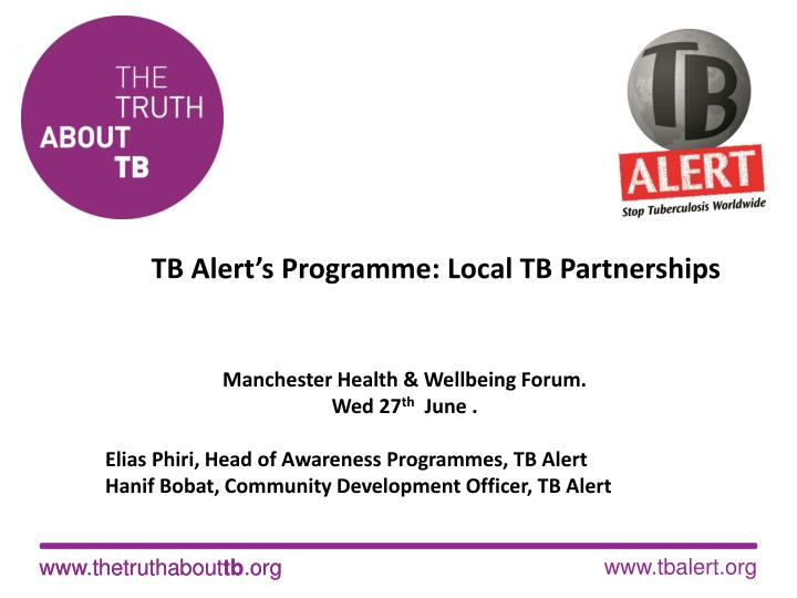 Tb alert s programme local tb partnerships
