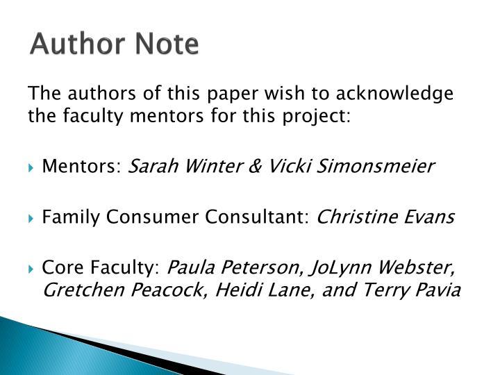 Author Note