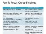 family focus group findings