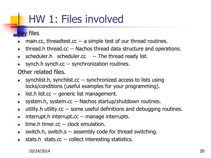 HW 1: Files involved