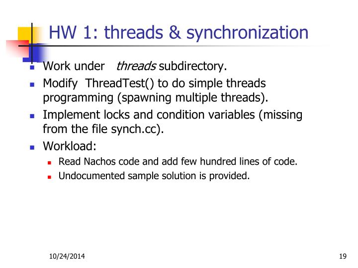 HW 1: threads & synchronization