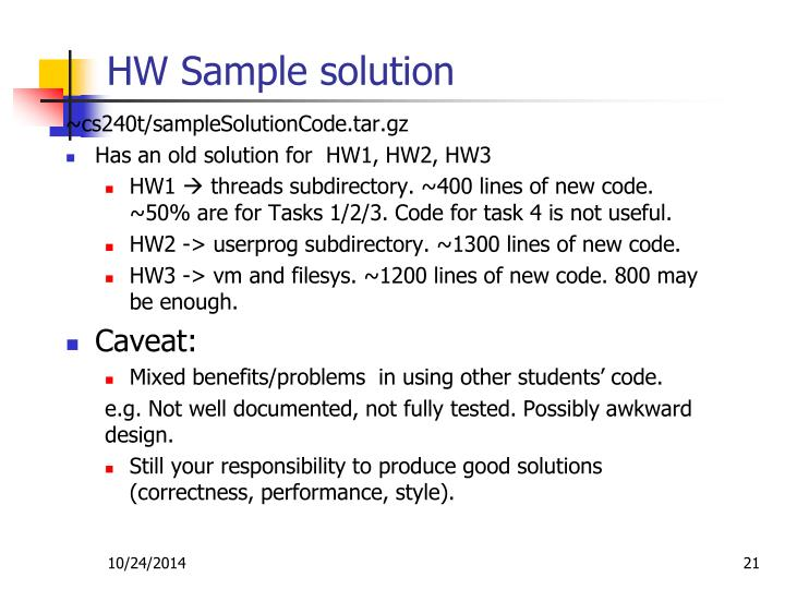 HW Sample solution