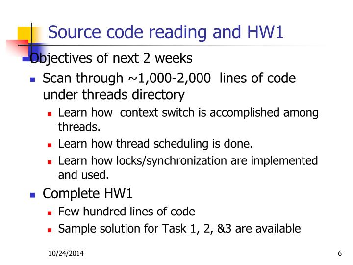 Source code reading and HW1