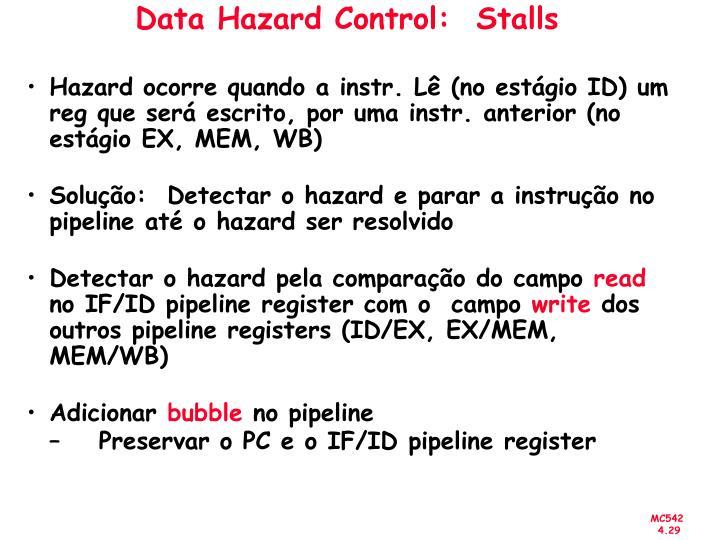 Data Hazard Control:  Stalls