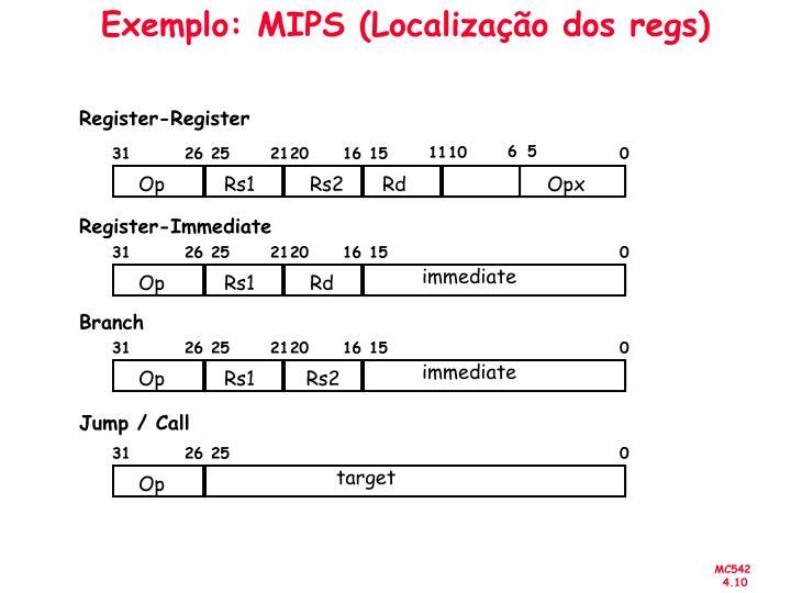 Exemplo: MIPS (Localização dos regs)