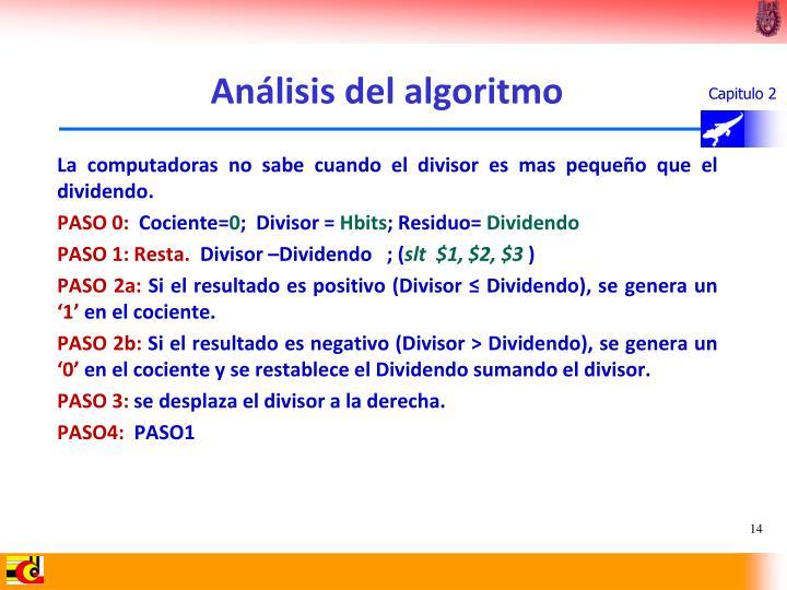 Análisis del algoritmo